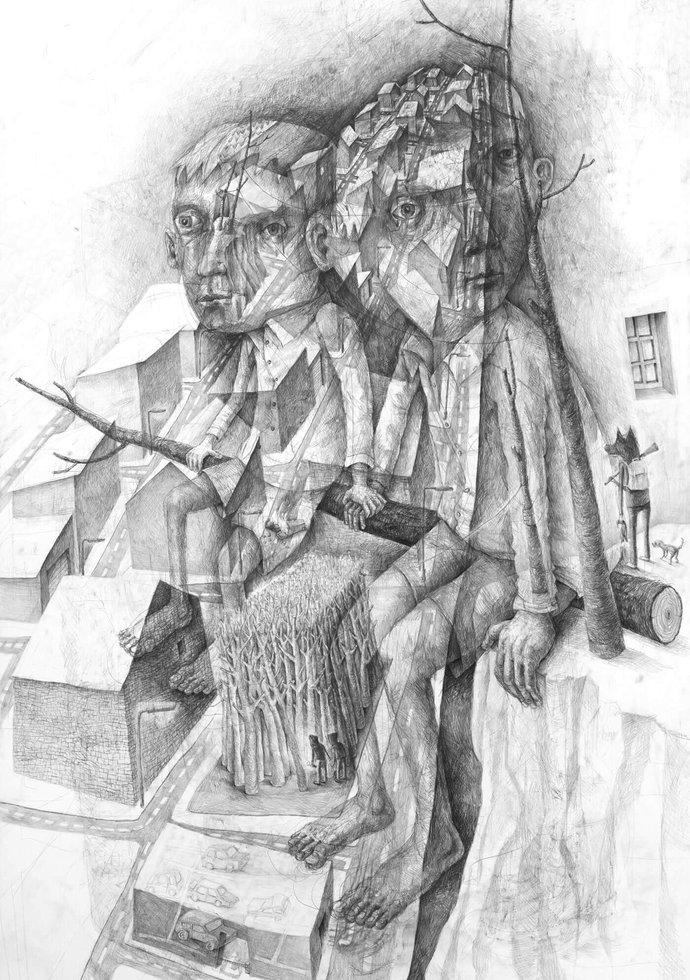 [Translate to English:] Stefan Zsaitsits Drawing Zeichnung Zwei Brüder Two Brothers