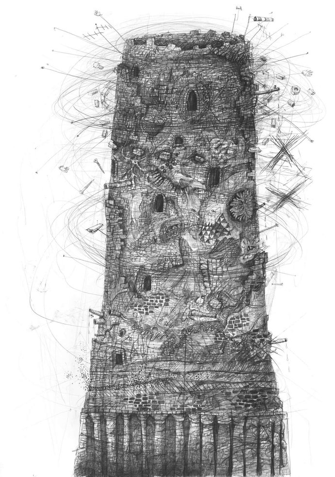 Stefan Zsaitsits Drawing Zeichnung Turm Tower