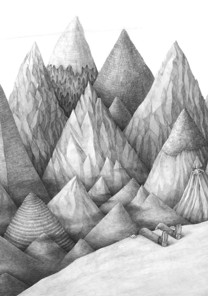 Stefan Zsaitsits Drawing Zeichnung Landschaft Berge Landscape Mountains